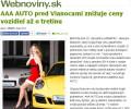 Webnoviny.sk: AAA AUTO pred Vianocami znižuje ceny vozidiel až o tretinu