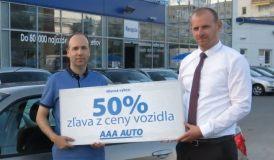 Výherca 50% zľavy z ceny vozidla